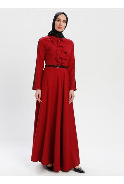 Yakası Volanlı Elbise - Bordo - Bürün