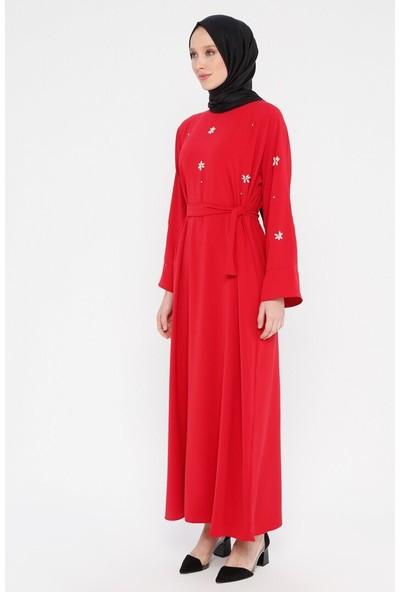 Boncuk İşlemeli Elbise - Kırmızı - Tuncay