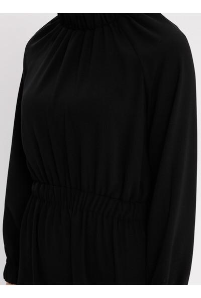 Beli Lastikli Elbise - Siyah - Panaline
