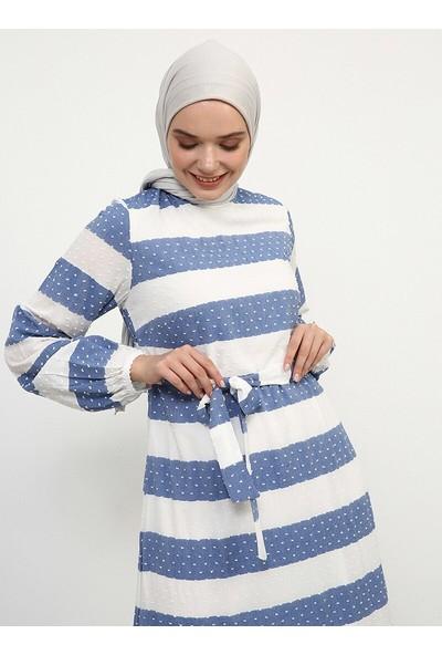 Doğal Kumaşlı Çizgili Elbise - Mavi Beyaz - Refka