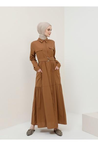 Boydan Gizli Düğmeli Cepli Elbise - Kahverengi - Benin