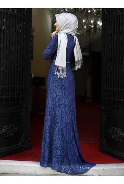 Hayal Abiye Elbise - İndigo - Amine Hüma