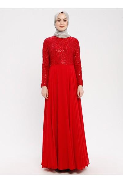 Payetli Abiye Elbise - Kırmızı - Zehrace