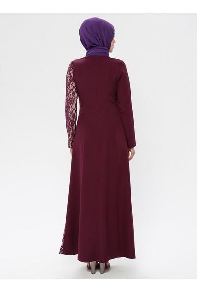 Dantelli Abiye Elbise - Mor - Bürün