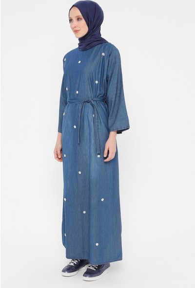 İncili Kot Elbise - Mavi - Tuncay