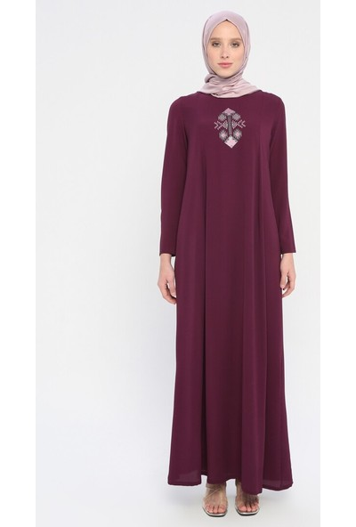 Nakış Detaylı Elbise - Mor - Ginezza