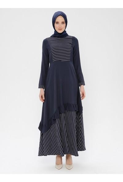 Volan Detaylı Çizgili Elbise - Lacivert - Ginezza