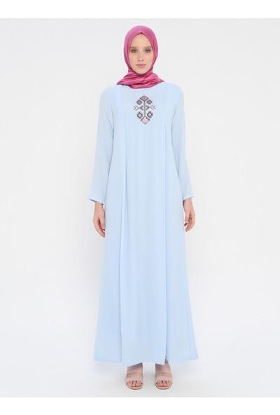 Nakış Detaylı Elbise - Bebe Mavisi - Ginezza