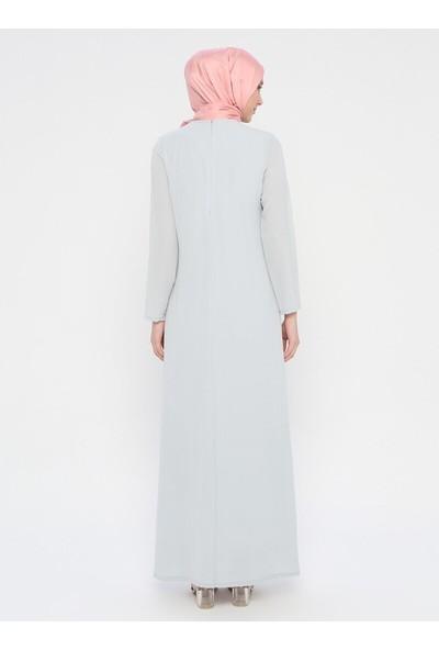 Nakış Detaylı Elbise - Gri - Ginezza