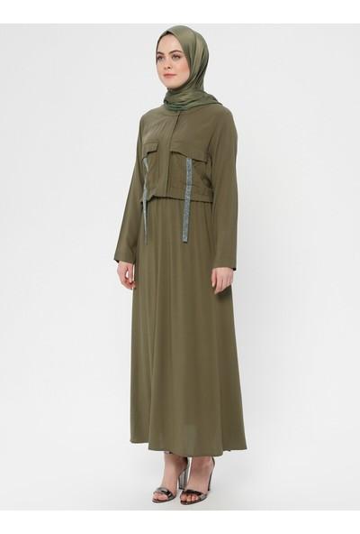 Cep Detaylı Elbise - Haki - Nzl