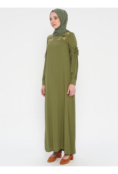 Nakış Detaylı Elbise - Açık Haki - Ginezza