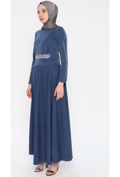 Kendinden Simli Taşlı Elbise - İndigo - Laruj