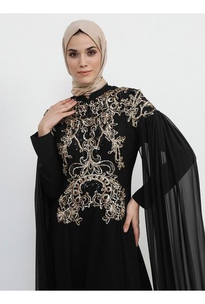 Şifon Detaylı Payetli Abiye Elbise - Siyah - Refka
