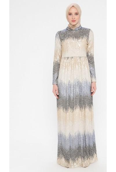 Payetli Abiye Elbise - Mavi Gold - Bürün