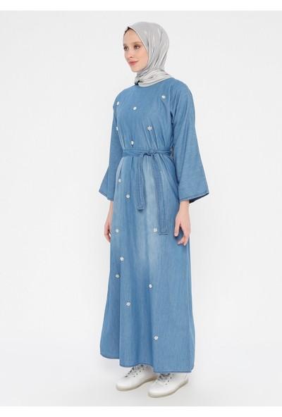 İncili Kot Elbise - Açık Mavi - Tuncay