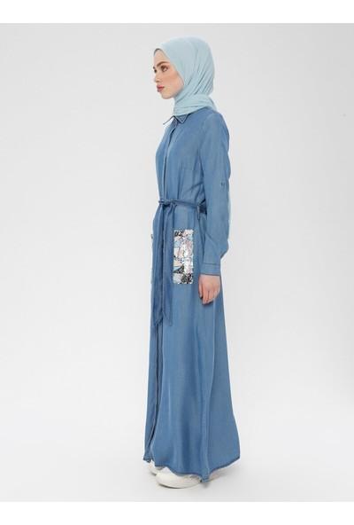 Boydan Gizli Düğmeli Tensel Kot Elbise - Mavi - Neways