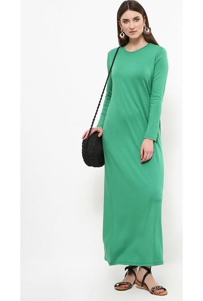 Doğal Kumaş Basic Elbise - Yonca Yeşili - Everyday Basic