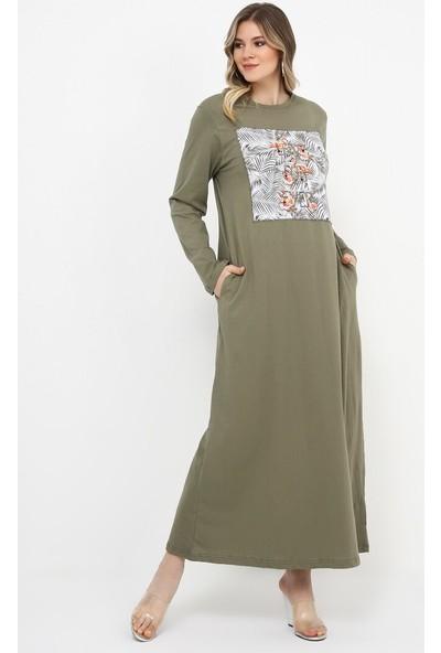 Doğal Kumaşlı Baskılı Elbise - Haki - Alia