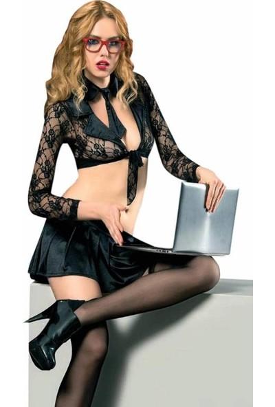 Erotica Siyah Mini Etekli Dantelli Sekreter Kostüm 23961