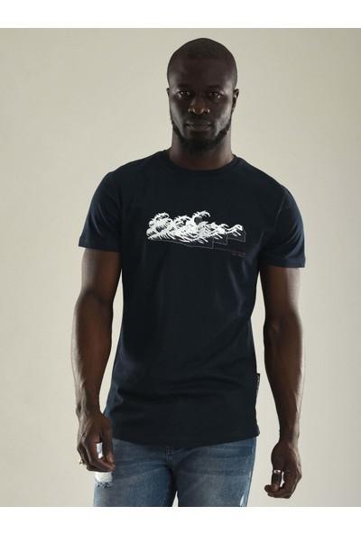Denim Republic Lacivert Baskılı Sıfır Yaka Erkek T-Shirt