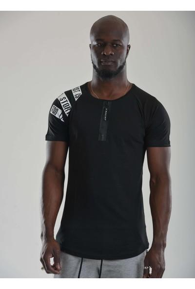 Denim Republic Erkek T-Shirt Siyah Bisiklet Yaka Fermuarlı