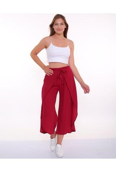 Bendee Collection Bağlamalı Ön Kapaklı Krınkıl Kumaş Yırtmaçlı Kadın Pantolon Bordo