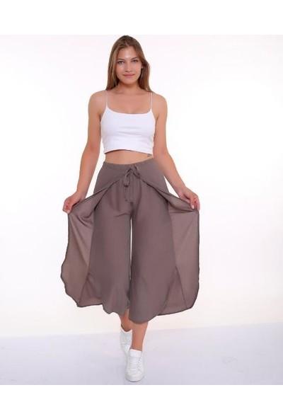 Bendee Collection Bağlamalı Ön Kapaklı Krınkıl Kumaş Yırtmaçlı Kadın Pantolon Toprak