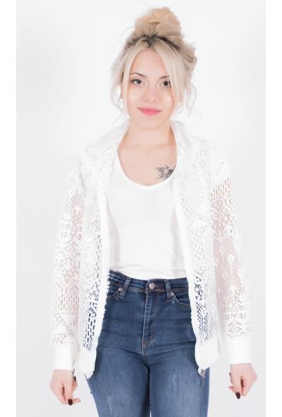 Sam Toni Kadın Beyaz Dantelli Ceket