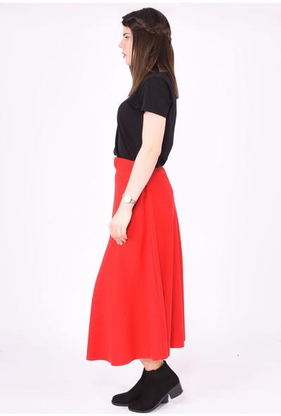 Sam Toni Kadın Kırmızı Kemerli Uzun Etek