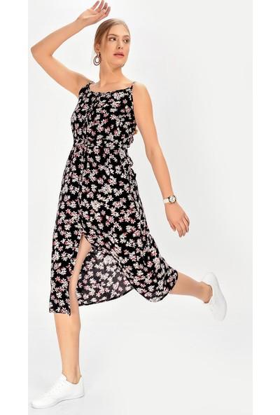 Hds Hadise Düğmeli Askılı Elbise 0165T