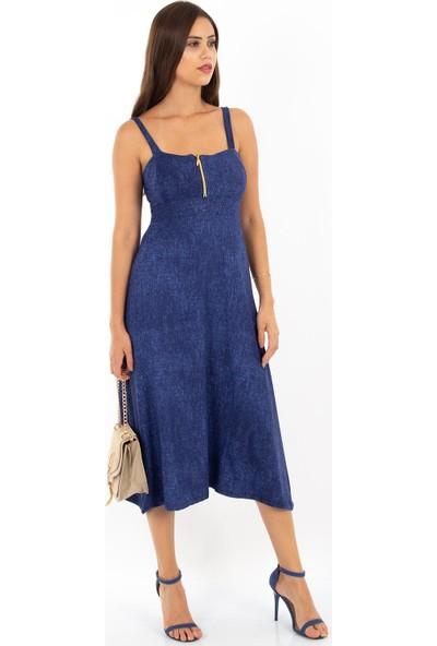 Hds Hadise Fermuarlı Askılı Elbise 0396T