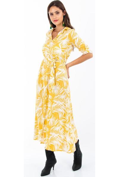 Hds Hadise Desenli Düğmeli Elbise 0700