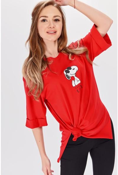 Hds Hadise Snoopy Baskılı Boyfriend Tshirt 2254T