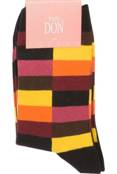 The Don Dikdörtgen Desenli Kadın Çorap Siyah Sarı