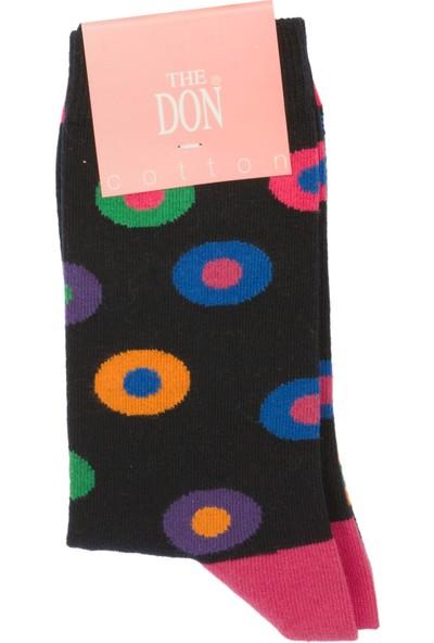 The Don Daire Desenli Kadın Çorap Siyah Pembe