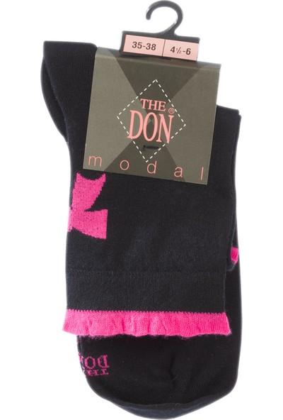 The Don Kurdela Desenli Modal Kadın Çorap Siyah Pembe