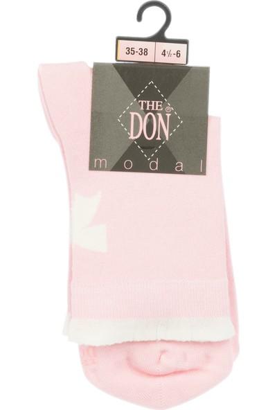 The Don Kurdela Desenli Modal Kadın Çorap Pembe Beyaz