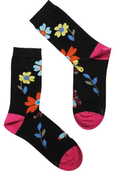 The Don Çiçekli Desenli Kadın Pamuk Çorap Siyah Pembe