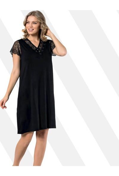 Kota Dantelli Penye Elbise Siyah 6301
