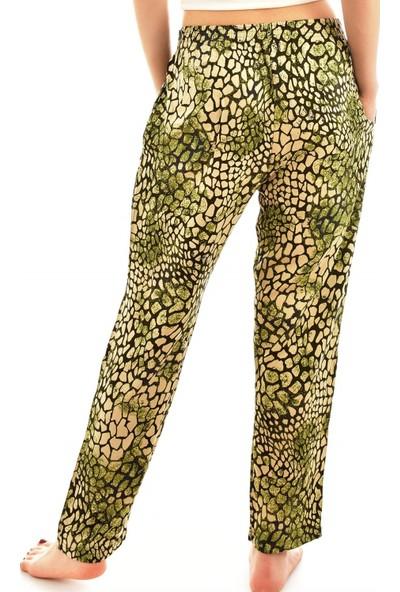 Arcan 9000 Kadın Desenli Cepli Şalvar Pantolon - Yeşil