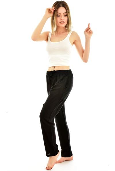 Arcan 9000 Kadın Dokuma Düz Renk Cepli Şalvar Pantolon - Siyah