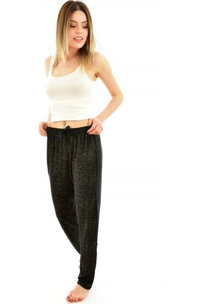 Arcan 9300 Kadın Desenli Cepli Şalvar Pantolon - Siyah
