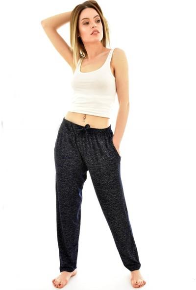 Arcan 9300 Kadın Desenli Cepli Şalvar Pantolon - Lacivert