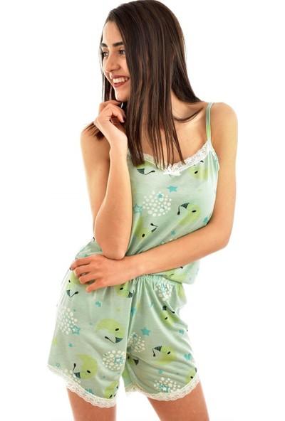 Pijamoni 2780 Desenli Kenar Dantelli Şortlu İkili Takım - Yeşil