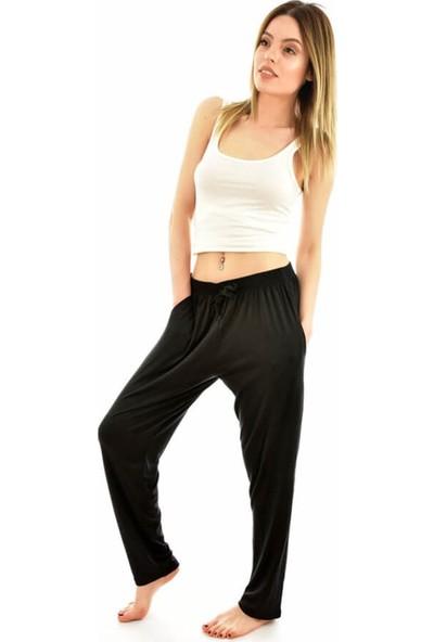 Arcan 9310 Kadın Battal Düz Renk Cepli Şalvar Pantolon - Siyah