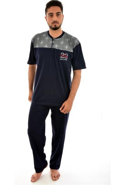 Falkom 4205 Erkek Önü Düğmeli Desenli Pijama Takımı - Lacivert