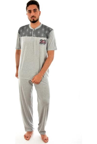 Falkom 4205 Erkek Önü Düğmeli Desenli Pijama Takımı - Gri