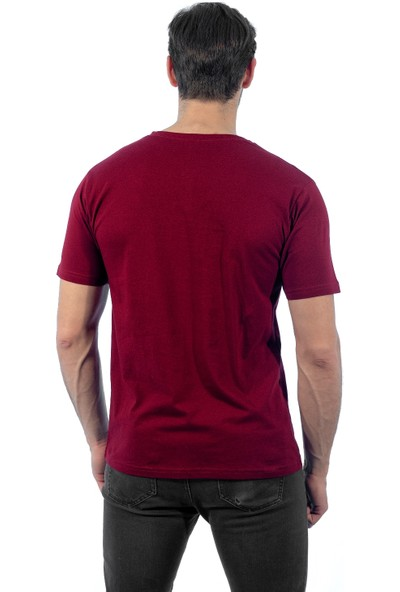 Şensel Bordo V Yaka T-Shirt