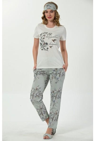 InstaPijama Yeşil Kuş Çiçek Desenli Sabahlıklı Kadın Pijama Takımı