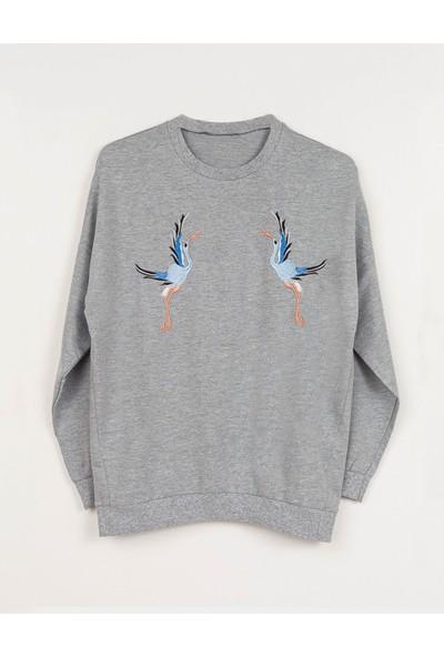 Coten Concept Kadın Kuş Baskılı Sweatshirt